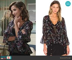 Lily's floral v-neck blouse on The Young and the Restless.  Outfit Details: https://wornontv.net/64311/ #TheYoungandtheRestless