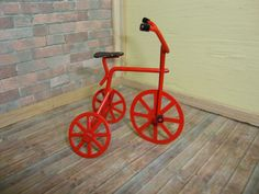 Dollhouse Miniature 1:12 Toys & Games Fairy Garden Garage  Red Tricycle #D12-4 #Handley