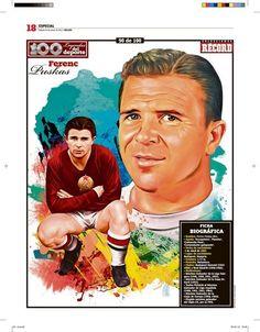 Ferenc Puskas 100 Leyendas del Deporte / 100 Sports Legends by Jesús R. Sánchez, via Behance