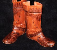 CUSTOM ORDER Mehndi Henna Burned Women's Leather Boots, Clogs, Shoes-- Do not purchase this listing - it is for demonstration purposes only.. $40,00, via Etsy.