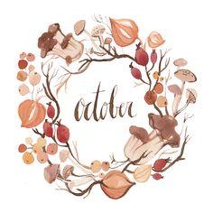 October, floral, ilustration