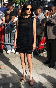 Steal Their Style: Catherine Zeta Jones' YSL Shoes...and D black mini.  Yummmm.