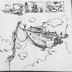 This #airship #penandink #drawing by @mr.pressharder suggests an interesting way to dock a #flyingship. Though that tower looks awfully unstable... I guess every #steampunk contraption has to start in a #sketchbook somewhere right? Nice work!