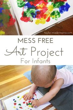 A great sensory based, mess free art project that will keep your baby engaged in Tummy Time and nurture their creativity!