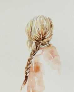 giclee fine art print of watercolor painting . romantic portrait of girl with braided hair . elizabeth becker Ask a… Watercolor Portraits, Watercolor Paintings, Watercolors, Watercolour Drawings, Illustration Art, Illustrations, Love Art, Painting Inspiration, Painting & Drawing