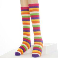 Bright rainbow colors knee high lady's socks Spandex Fabric, Cotton Spandex, Striped Knee High Socks, Swimsuit Fabric, Sexy Socks, Lining Fabric, Rainbow Colors, Swimsuits, Lady