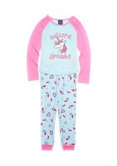 Jellifish Kids 2-Piece Unicorn Pajama Set Girls 7-16 - Pink/Blue Unicorn - Xs