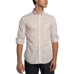 Perry Ellis Men's Fine Twill Plaid Shirt,Silver Lining,Medium (Apparel)