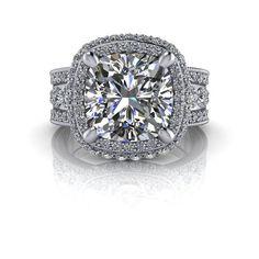 SUEPRNOVA Colorless Moissanite Diamond Halo Engagement Ring 5.02 CTW