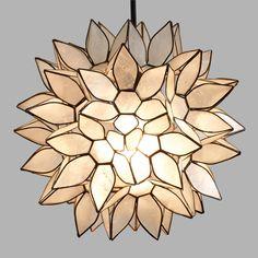 Small Capiz Lotus Pendant Lamp: White - Capiz Shell by World Market Kleine Capiz Lotus Pendelleuchte Pendant Lighting Bedroom, Pendant Chandelier, Hanging Pendants, Lantern Pendant, Ceiling Lighting, Pendant Lights, Loft Lighting, Hanging Lamps, Lighting Sale