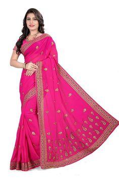Rani Colour Georgette Designer Party Wear Saree Buy Sarees