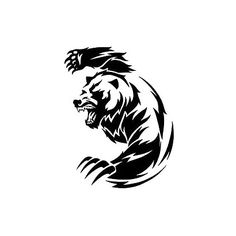 This is a a black fierce tribal bear with sharp claws on the fore limbs ready to strike a blow. . Style: Tribal. Color: Black. Tags: Nice, Meaningful