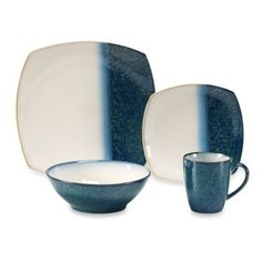 Sango Metallics Blue 16-Piece Dinnerware Set - BedBathandBeyond.com