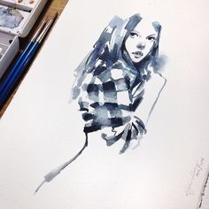 Instagram media elfandiary - mari berlatih.. from photo reference, Cotman water colours.