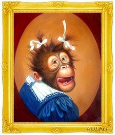 Monkey Art, Pet Monkey, Painted Rock Animals, Painted Rocks, Abstract Canvas Art, Oil Painting On Canvas, Wilson Art, Roller, Pet Rocks