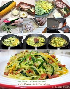 Stir-Fried Zucchini Noodle with Bacon and Parmesan (Atkins Diet Phase 1 Recipe)   Diet Plan 101