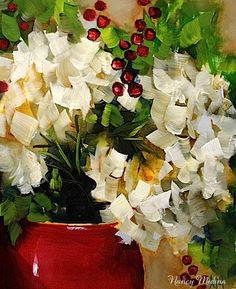 """Let It Snow White Hydrangeas - A Holiday Show and Sale by Texas Flower Artist Nancy Medina"" - Original Fine Art for Sale - © Nancy Medina"