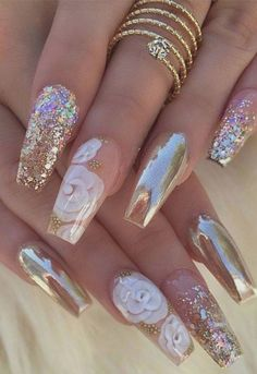 Super Ideas For Holographic Nails Coffin Rose Gold Glam Nails, Cute Nails, Pretty Nails, Stiletto Nails, Nails Yellow, Rose Gold Nails, Gold Gel Nails, Marble Nails, Best Acrylic Nails