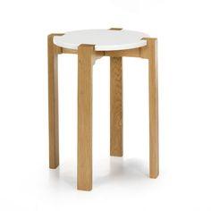 Tabouret bas design scandinave coloris blanc Blanc/chêne - Siwa - Tabourets et bancs - Tables et chaises - Salon et salle à manger - Décoration d'intérieur - Alinéa #AlineaPE2014