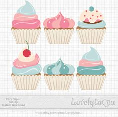 Baking Cupcakes clip art blue and pink digital clip by Lovelytocu, $3.50