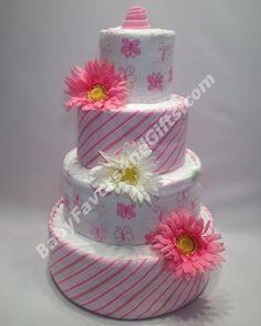 Pink Butterflies Diaper Cake http://babyfavorsandgifts.com/pink-butterflies-diaper-cake-p-59.html