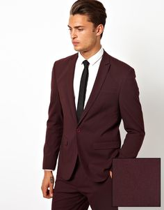 $112, Burgundy Blazer: Asos Skinny Fit Suit Jacket In Burgundy. Sold by Asos. Click for more info: http://lookastic.com/men/shop_items/62505/redirect