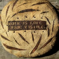 """""""Revisiting this stencil and it's meaning. [#khalilgibran]"""" Stenciled loaf by Rob of Chicken Bridge Bakery [@ChickenBridgeBa on Twitter], pinned with permission."""