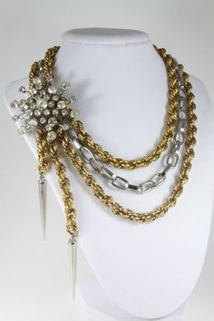 Vintage Chain necklace with vintage rhinestone brooch/ statement necklace/ one of a kind/ repurposed necklace. $55.00, via Etsy.