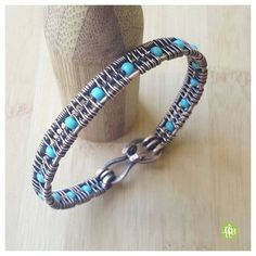 Hey, I found this really awesome Etsy listing at https://www.etsy.com/uk/listing/275799044/blue-beaded-wire-bangleturquoise-wire
