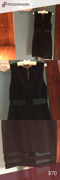 Black dress... Very chic form fitting black dress with see through mesh under the bodice and at the hem from ABS. Size M. Made of viscose, nylon, and spandex. ABS Dresses Midi