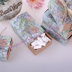 Around the World Map Favor Box  BETER-TH031 A gift of thanks for almost any occasion on earth! As unique a favor box as you'll find in all the world, with a universal appeal that makes life and your special occasion, oh, so sweet! #favorbox #candybox #beterwedding