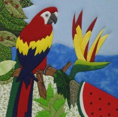 Quadro em Patchwork Embutido   A2atelier   251158 - Elo7 Hand Applique, Applique Patterns, Quilt Patterns, Tropical Quilts, Peacock Quilt, Quilting, Bird Quilt, Animal Quilts, Acrylic Painting Techniques