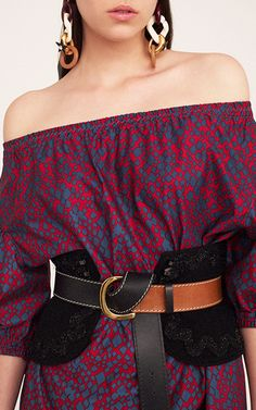 Rose and Blue Satin Off-The-Shoulder Tunic Dress by | Moda Operandi