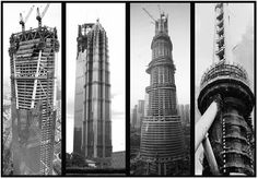 Shanghai landmarks under construction. Today's Shanghai skyline has been 20 years in the making.