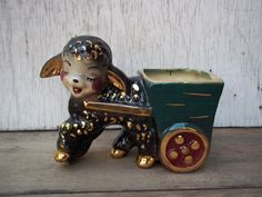 Vintage LAMB/BLACK SHEEP Planter Decorated in 23K Gold CUTE!