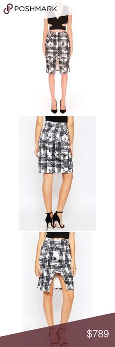 "⭐️Finders Keepers Skirt Size XS Mistaken For A Vision Skirt • White Tartan Floral • Cold hand wash with like colors • 98% Polyester 2% Elastane • 24"" waist 33"" hips 22"" length 36"" sweep Finders Keepers Skirts Pencil"