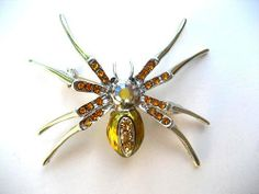 Topaz Czech Crystal Rhinestone Brown Belly Spider Fashion Costume Pin Brooch Alilang. $10.99