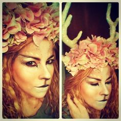 I'm a Faun!!! Makeup, hair, horns & flower crown all made by me :)