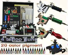 4 Machine Power Supply Needle Tattoo Kits $120.9  http://www.dinodirect.com/tattoo-kit-4machine-power-supply-needle-tips-grip-ink.html?affid=4793