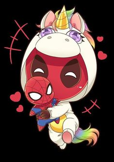 Drawing Marvel - The cutest thing ever, chibi Deadpool in a unicorn costume, and carrying a stuffed version of his pal Spider-man. Print your own decals or posters. Purchase grants personal use rights, but not commercial use rights. Deadpool Chibi, Deadpool X Spiderman, Cute Deadpool, Deadpool Unicorn, Deadpool Fan Art, Deadpool Symbol, Deadpool Quotes, Deadpool Tattoo, Deadpool Movie
