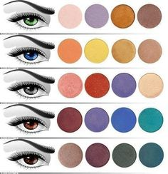 color palettes for different eye colors....I like that there are a lot of choices. with blue eyes i always hear 'brown eye shadow'...i like having different options.