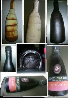 Remy martin Wine bottle cake steps How To Use Fondant, How To Make Cake, Hairdresser Cake, 3d Cake Tutorial, Wine Bottle Cake, Alcohol Cake, Champagne Cake, Sculpted Cakes, Cake Craft