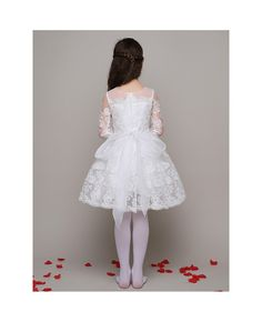 517444f80643 All Lace A Line Short Beaded Flower Girl Dress with 3 4 Sleeves  EFL01 -  GemGrace.com