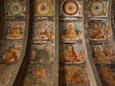 Unique monument of ancient art and architecture: 28 - 30 rock-cut temples in India. Ajanta Caves were created in the century BC and also later. Ajanta Ellora, Ajanta Caves, World Famous Paintings, Cave Drawings, Medieval Paintings, Tibetan Art, Online Painting, Paintings Online, Buddhist Art