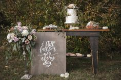 Ever After Planning Weddings + Events | Blush + Grey Inspiration Shoot. Lush Florals. Desert Station. Wedding Desert Station. Bundt Wedding Cakes. Wedding Macarons. Wedding Cakes.  Photo | The Verdant Photographer Floral | Flowers by Book Cake + Deserts | The Noble Cakery Calligraphy | Dashwood Shop