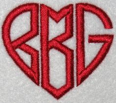 Heart Monograms Embroidery Fonts | Apex Embroidery Designs, Monogram Fonts & Alphabets