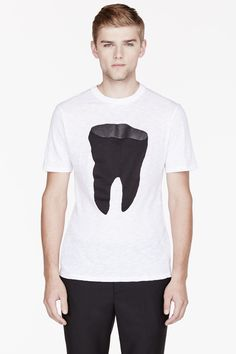 NEIL BARRETT WHITE BLACK TOOTH print t-shirt