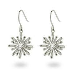 Sterling Silver Pave CZ Daisy Dangle Earrings  Love love love these