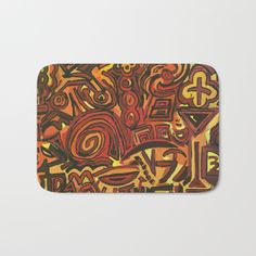 Orange Symbols Bath Mat