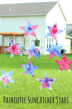 Red, White and Blue Suncatcher Stars. Science, art and fine motor activity for preschoolers!